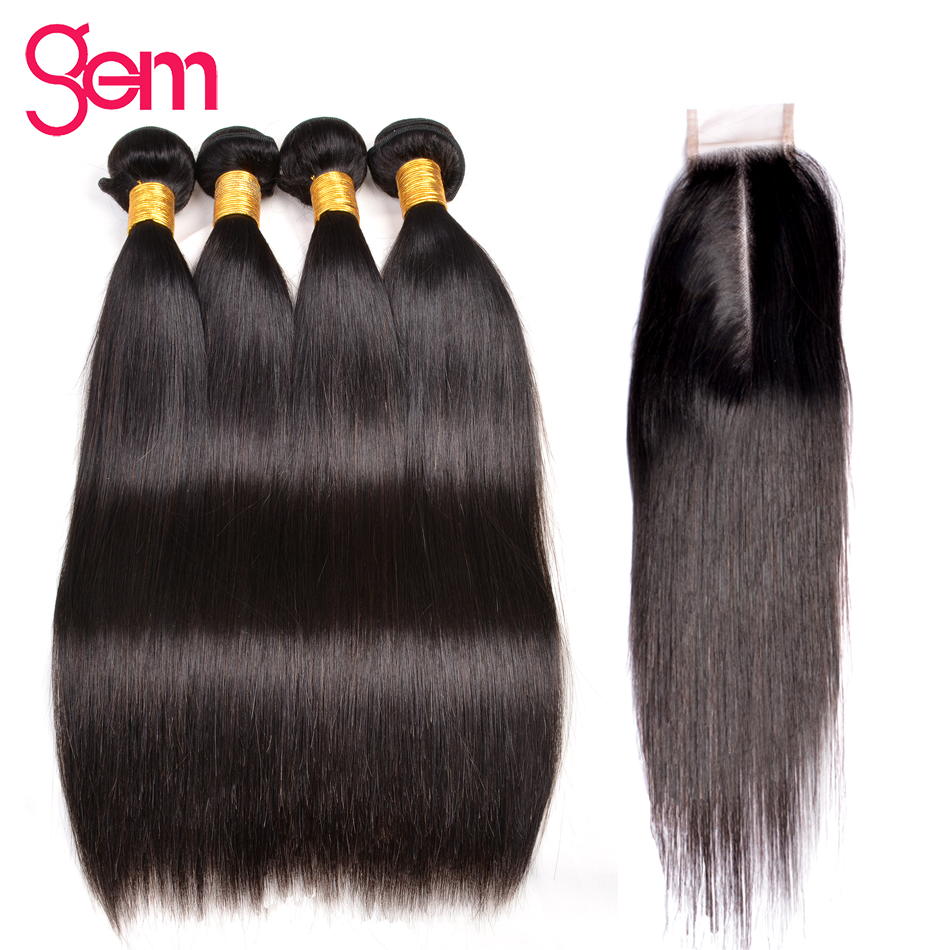 Gem Beauty Straight Hair Bundles With 2X6 Inch Closure Peruvian Human Hair Weave Bundles With Closure