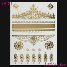 European And American Fan Gold And Silver Metallic Tatoo Star Luxury Nightclub Sexy Temporary Tattoos Henna Tatto Gilt Funds