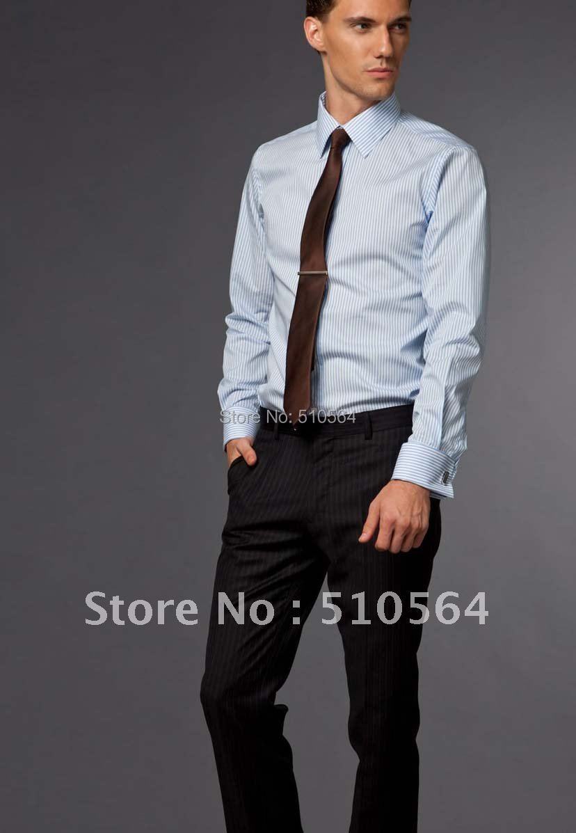 10e363a087 Custom made men Cotton shirt Business casual men slim shirt Fit your body  well light blue stripe shirt-in Dress Shirts from Men s Clothing on  Aliexpress.com ...