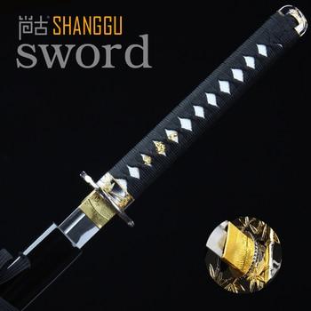 Beautifully Black Warrior Straight Knife Golden Bamboo Cutter Samurai Sword  RPG True Ninja Sword Katana