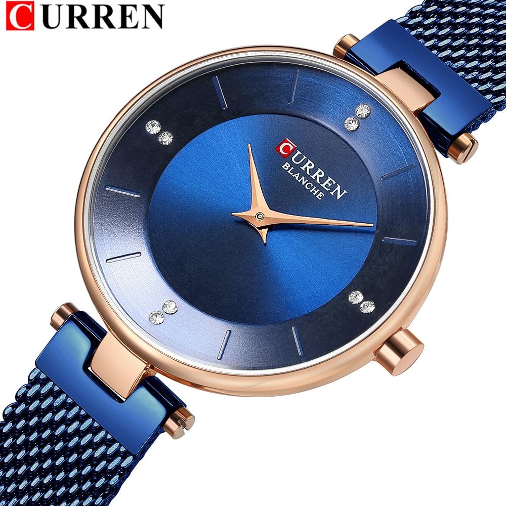 Elegant Womens Watch CURREN Watches Quartz Clock Women's Diamond Mesh Watch Dress Ladies Bangle Wristwatch Bayan Kol Saati