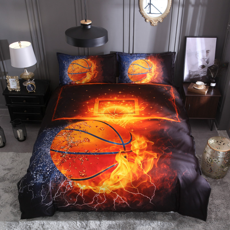 iDouillet Basketball on Fire Flame Burning 3D Printed Bedding Set Comforter/Quilt/Duvet Cover Sets with Pillowcase for Kids Teen