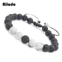 Ailodo Fashion Natural Stone Men Women Bracelets Real Lava Howlite Charm Beads Couple Jewelry Birthday Gift LD109