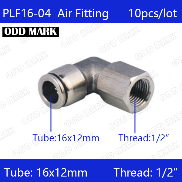 Free shipping 10pcs/lot 16mm to 1/2 PLF16-04,304 Stainless Steel Elbow Feale Connector free shipping 10pcs lot type 4mm to m6 female thread elbow pneumatic pu hose gas connector 90 degree plf 4 m6