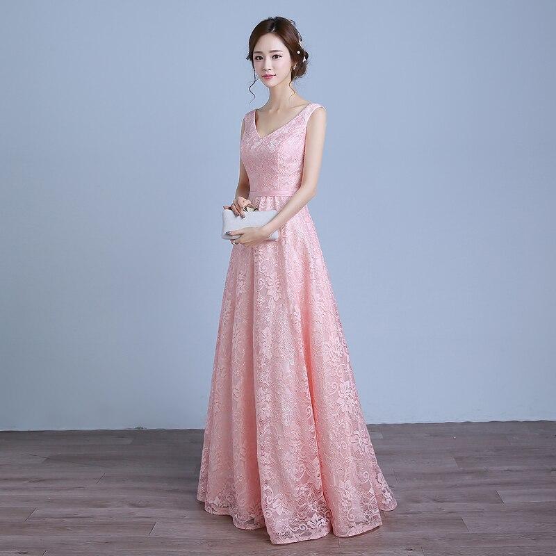 Real Photo Women Long Formal Prom Gown V Halskjede Kjole - Spesielle anledninger kjoler - Bilde 2