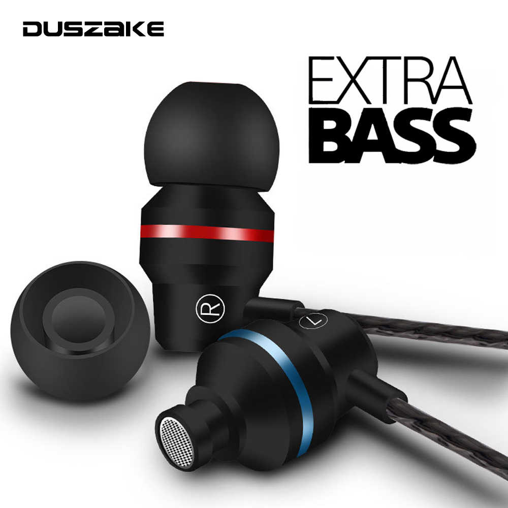 Duszake In-Ear Headphone untuk Xiaomi Earphone untuk Ponsel Stereo Bass Headset Logam Wired Earphone Hi Fi Headphone MIC untuk Samsung