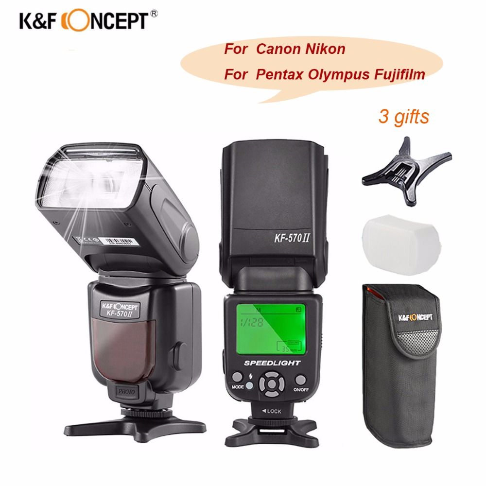 K&F CONCEPT KF-570 II Camera Wireless High Speed Flash Speedlite Universal For Canon Nikon Pentax Olympus Fujifilm VS YN560 IV drill buddy cordless dust collector with laser level and bubble vial diy tool new