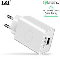 L I Quick USB Charger 18W Fast Wall Charger QC3 0 Travel Phone Charging Adapter For