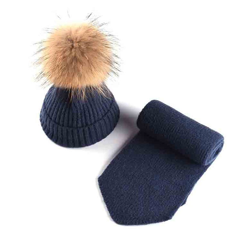 Baby Winter Hat With Scarf Set Knitted Neck Warmer 2Pcs Sets For Boy Girls Kids Children Raccoon Fur Warm Snow Hat New Year Gift