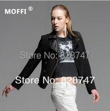 MOFFI Jacket Black Long sleeve Personality Fashion Women Cool Girl High Quality New 2014 Free Shipping,Cheap wholesale
