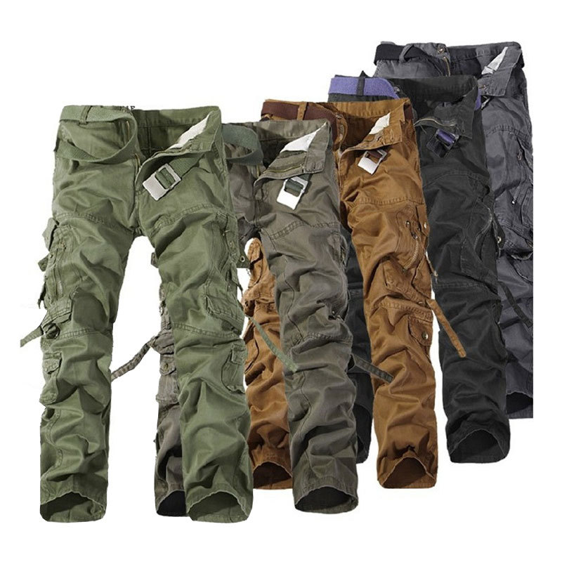 MENS FASHION ARMY CARGO COMBAT WORK PANTS CASUAL CAMO MILITARY TROUSERS Sz