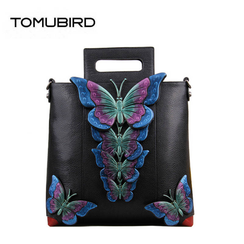 2018 new superior leather designer brand women bags fashion Three-dimensional butterfly genuine leather handbags women tote bag