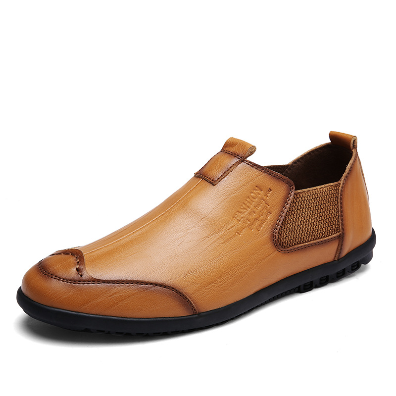 Transpirable Británicos Alta 2a Zapatos Cuero Holgazanes Deslizamiento Yellow La Brown Brown Calidad Del En De Mocasín red Hombres Genuino Barco Los negro w6gaqzA