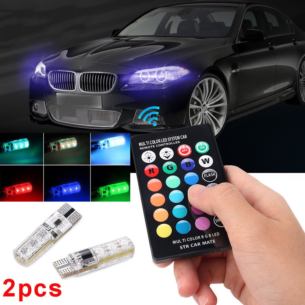 2Pcs 12V LED Car Light With Remote Control T10 5050 SMD RGB Auto Interior Dome Wedge Strobe Lamp Bulbs Car-styling CSL2017