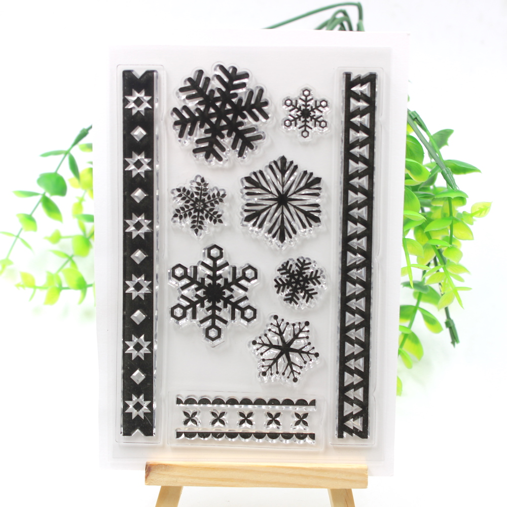 YPP CRAFT Christmas Snowflake Transparent Clear Silicone Stamps for DIY Scrapbooking/Card Making/Kids Fun Decoration Supplies