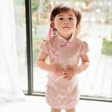 2018 di inverno del bambino floreale qipao ragazze abiti di pizzo capretto cinese  cheongsam nero stella anno del regalo dei bamb. 5345475ff1f