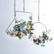 Ins Geometric Metal Garland Hanging Decoration Wreath For Wedding Backdrop Wall Deco green plant hanging ring