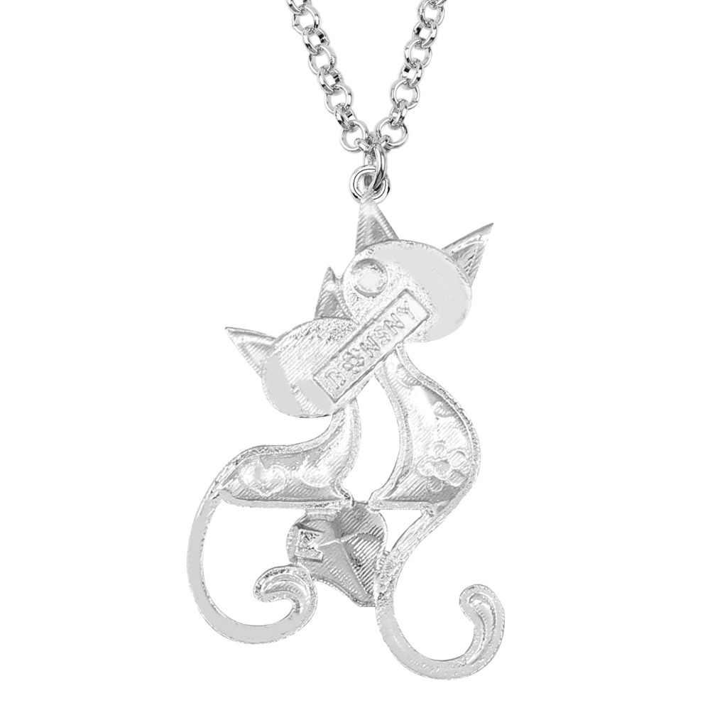 Bonsny esmalte Aleación de diamantes de imitación cristal doble gato COLLAR COLGANTE moda Animal mascotas joyería para mujeres niñas mejores amigas regalo