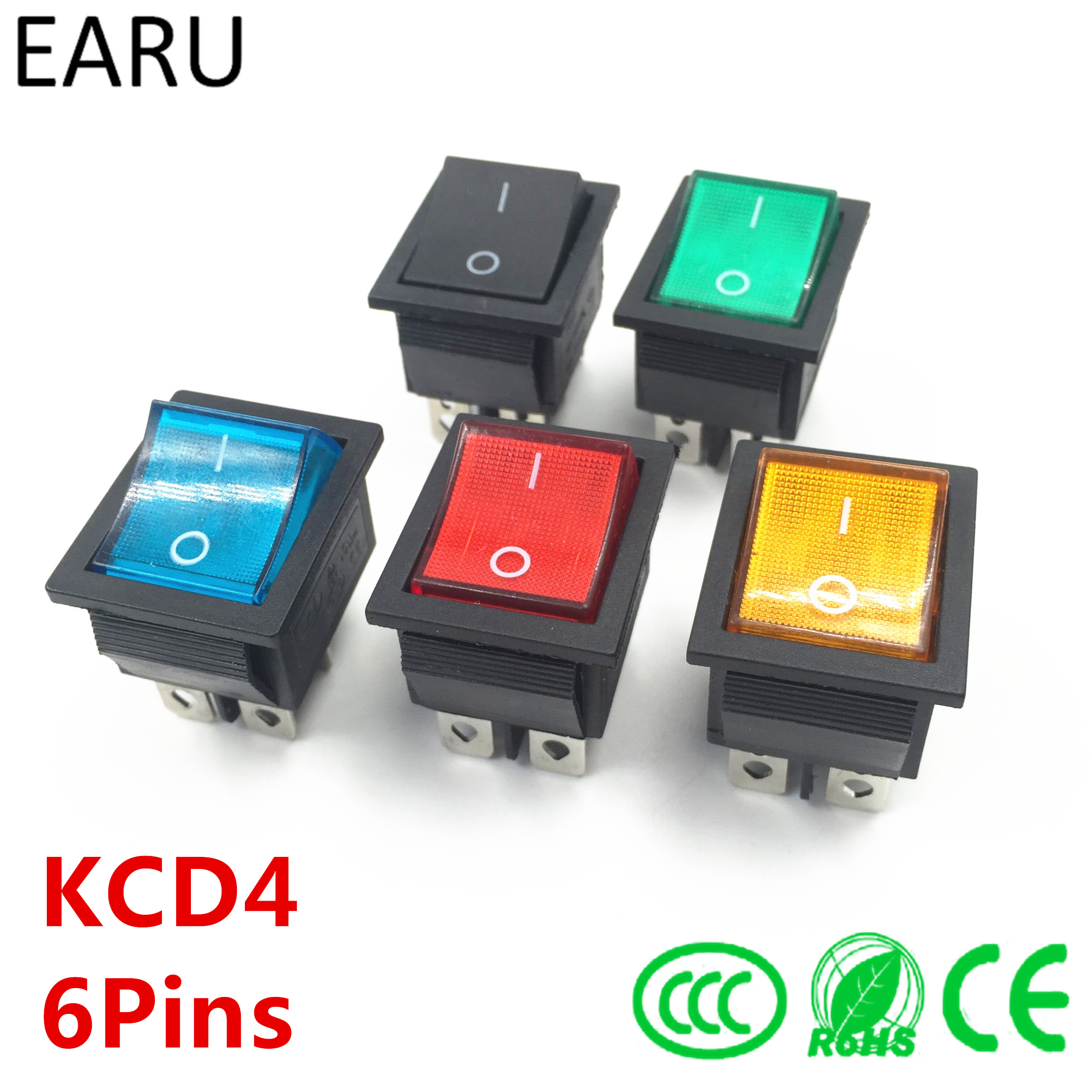 Latching Rocker Switch Power Switch I/O 6 Pins With Light 16A 250VAC 20A 125VAC KCD4 Green Red Yellow Blue Black Boat DPST