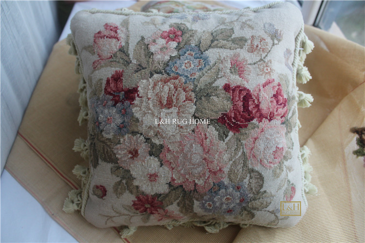 FREE SHIPPING 15K 16X16 Needlepoint pillow, handknotted woolen cushion with roses no insertionFREE SHIPPING 15K 16X16 Needlepoint pillow, handknotted woolen cushion with roses no insertion