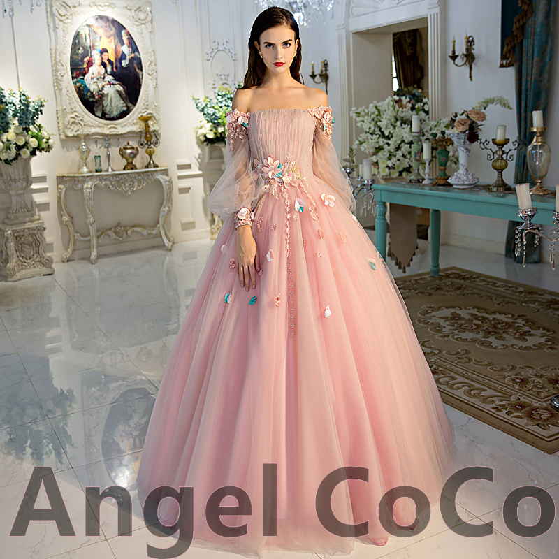 0319cea602b Pink Tulle Prom Dress 2016 Long Sleeves Flower Evening Dress Sexy Middle  East Saudi Style Lady Party Gowns Private custom-in Evening Dresses from  Weddings ...