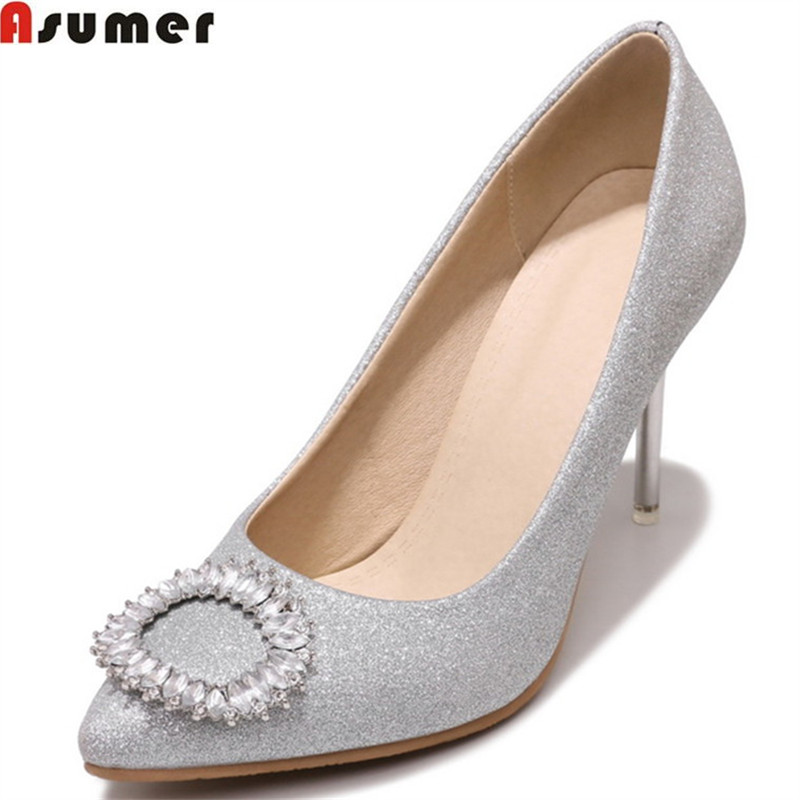 ASUMER black red 2018 fashion new arrive pumps shoes woman pointed toe elegant thin heel wedding shoes women high heels shoes