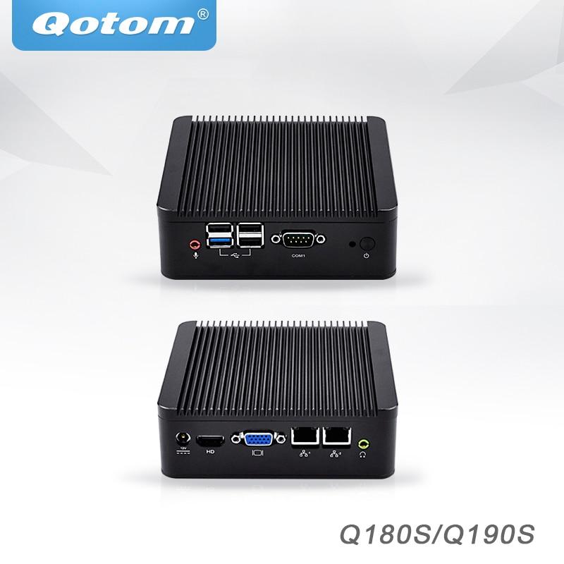 Qotom Mini PC Barebone avec Nano itx Bay trail J1900 J1800, double lan Pfsense Ubuntu Mini Ordinateur Sans Ventilateur Industriel Mini PC