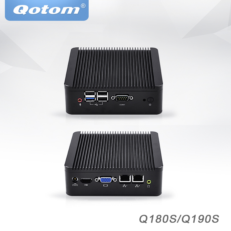 Qotom Mini PC Barebone with Nano itx Bay trail J1900 J1800,dual lan Pfsense Ubuntu Mini Computer Fanless Industrial Mini PC hot sale celeron mini pc desktop computers dual lan mini pc x29 j1800 j1900 2 gigabit lan hdmi vga windows 7 win10 ubuntu