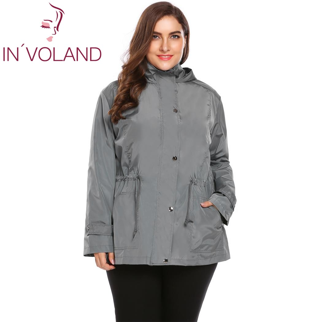 INVOLAND Big Size L-4XL Women Rain Jacket Autumn Winter Coat Hooded Long Sleeve Solid Ho ...