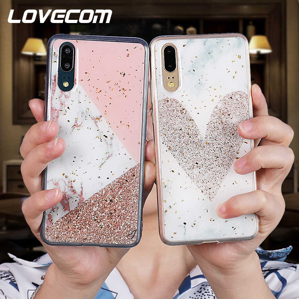 LOVECOM Phone Case For Huawei P20 P30 Pro Lite Mate 20 Pro Nova 3i 4 Gold Powder Marble Heart Soft Epoxy Back Cover Coque Gift