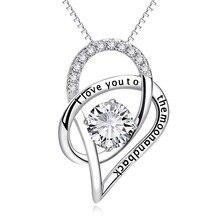 YFN 100% Реального Чистая Стерлингового Серебра 925 Я Люблю Тебя до Луны И Обратно CZ Горный Хрусталь Сердце Ожерелье Женщины ChokerBijouterie