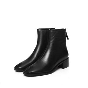 Image 3 - ALLBITEFO naturale del cuoio genuino tacchi alti stivali di cuoio delle donne punta quadrata tallone spesso caviglia stivali per le donne nuovi stivali invernali