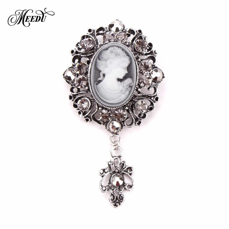 MEEDU Vintage Gold Silver Drop Elegant Beauty Queen Brooch Safety Cameo  Rhinestone Brooch Pins Women Girls f81e82655727