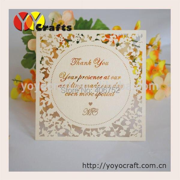 boda del corte del laser tarjeta de agradecimiento con cutted