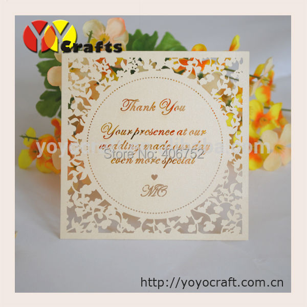 Laser Cut Wedding Thank You Card With Cutted Customers Text