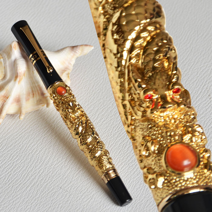 Roller Ball Pen Jinhao Fly Dragon Emboss Golden Barrel Black Cap With Pearl Silver Grey 3 Colors For Choose Free Shiping Office & School Supplies Ballpoint Pens