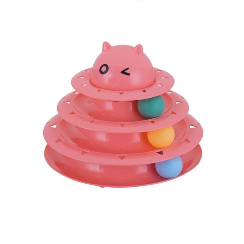 panDaDa Cat Toys Intelligence Plastic Balls Disc Triple Activity Play Cat Toy Interact Turntable Cat Toys