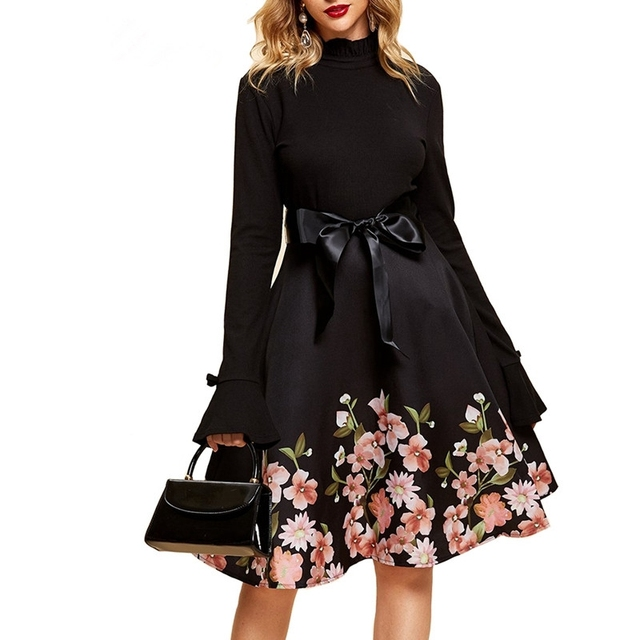 8d026c8434a4 Women Elegant Sexy Vintage winter red midi dress 2019 Black Tunic Pinup Work  Office Casual Party A Line Skater long sleeve Dress