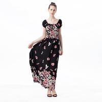 Summer Dress 2017 Women Off Shoulder Long Vintage Boho Dress Women Floral Long Sleeve Maxi Dress