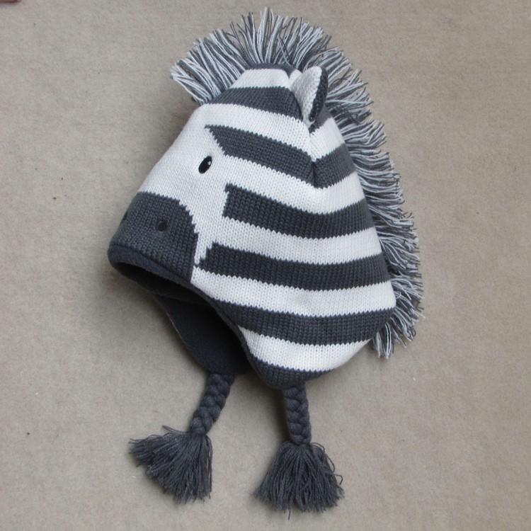 Baby Boys Winter Warm Hats Cartoon Zebra Pattern Caps Kids Knitted Caps Ear Flaps Beanies Children's Girls Cute Animal Sckullies 17