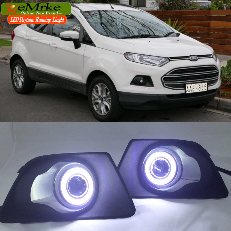LED Angel Eyes DRL For Ford Ecosport 2013 2014 2015 Fog Lights H11 Matching Original Bumper Cover for opel astra h gtc 2005 15 h11 wiring harness sockets wire connector switch 2 fog lights drl front bumper 5d lens led lamp