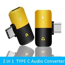 Prise casque Type c adaptateur 2 en 1 chargeur Audio pour Samsung HTC Huawei répartiteur Audio convertisseur pour Xiaomi Mi8 synchronisation