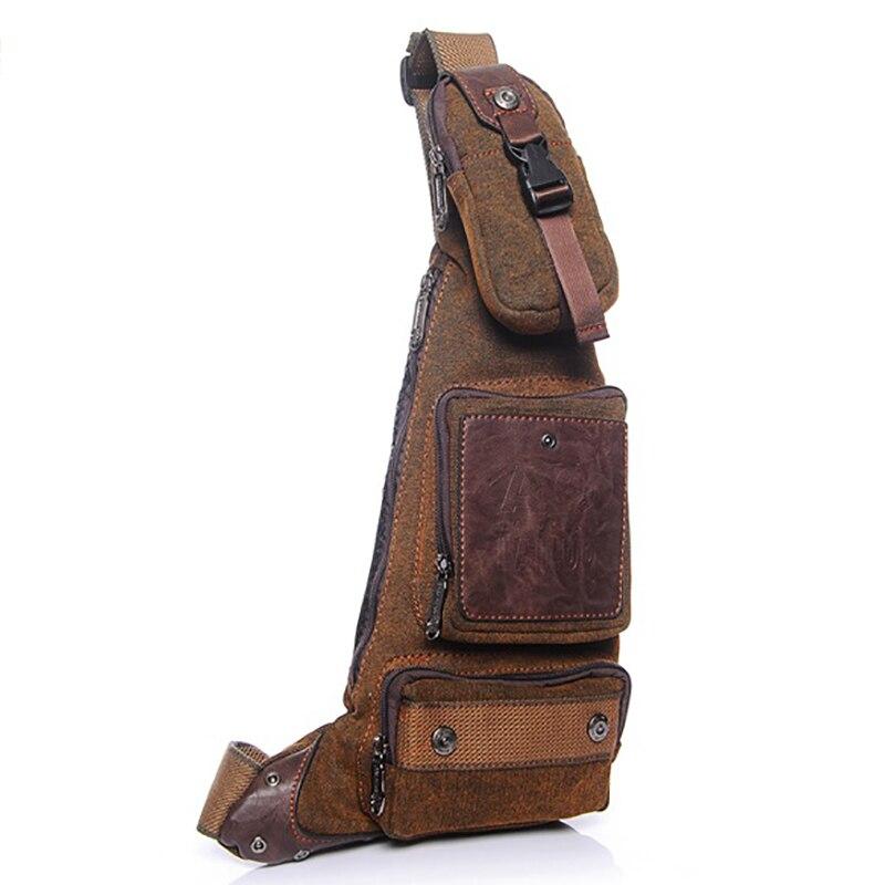 Men Outdoor Sports Casual Canvas Backpack Crossbody Sling Shoulder Chest Bag J4