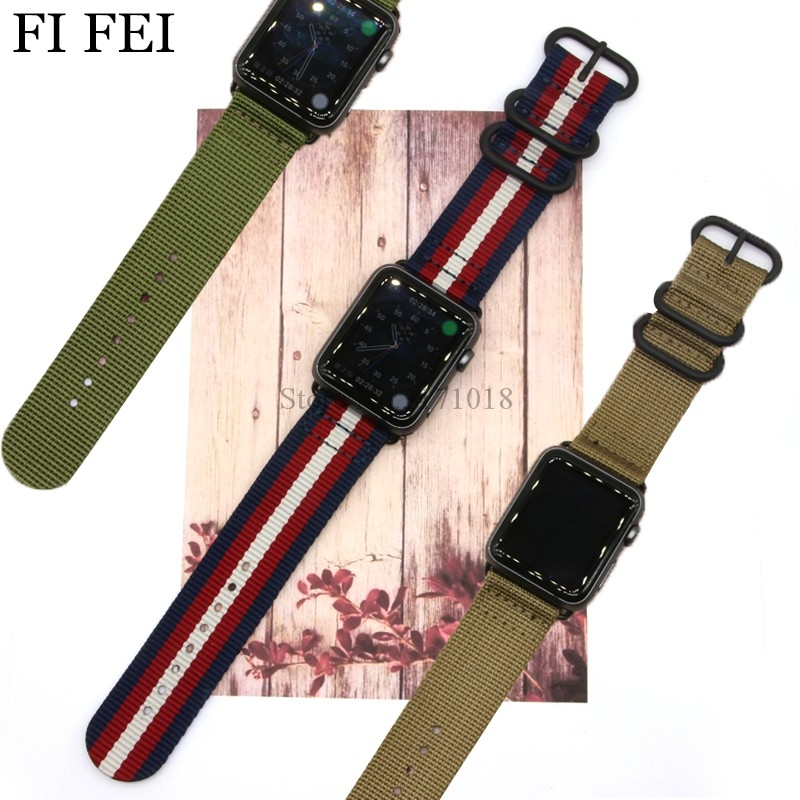 FI FEI NEW Colorful Pattern Band For Apple Watch 38mm 42mm Stripe Woven Nylon Band Fabric-like Feel Strap Watchband Series 1 2 3