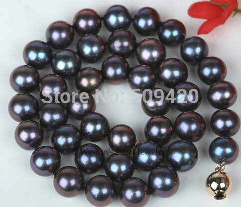 Shipping 10MM LARGE SIZE BLACK GENUINE CULTURED FRESHWATER PEARL CHOKER NECKLACE (C0309)