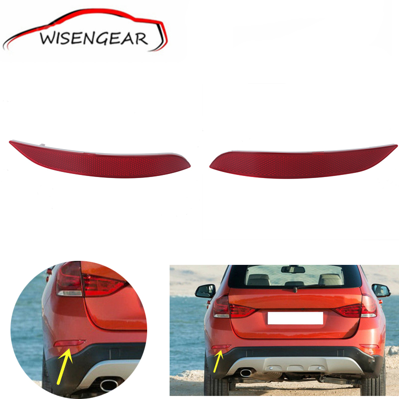 I Pair Car Styling Red Lens Rear Bumper Reflector Fog Warn Light For BMW X1 2013 2014 2015 OEM 63147314883 63147314884 C/5