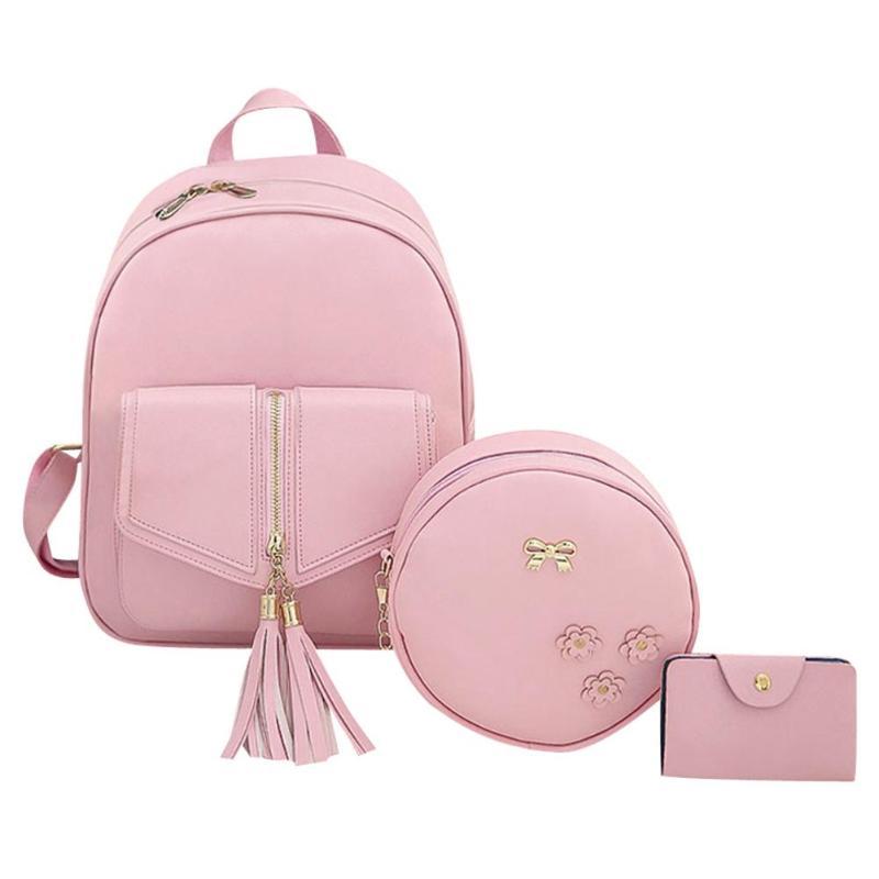 3pcs/set Tassels Women Bowknot Pu Leather Backpacks Round Shoulder Card Bag Composite Card Bag