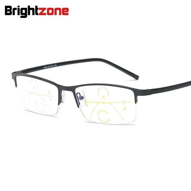 Brightzone Half Rim Tube Metal Magnifier Reading Bifocal Far Glasses Frames For Diopter Presbyopia Men Ultra Light Retro Lectura