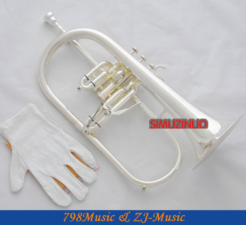 Silver Plated Flugelhorn Abalone Amado Keys Bb Flugel Horn New Case professional silver gold plated marching french horn bb monel valves with case