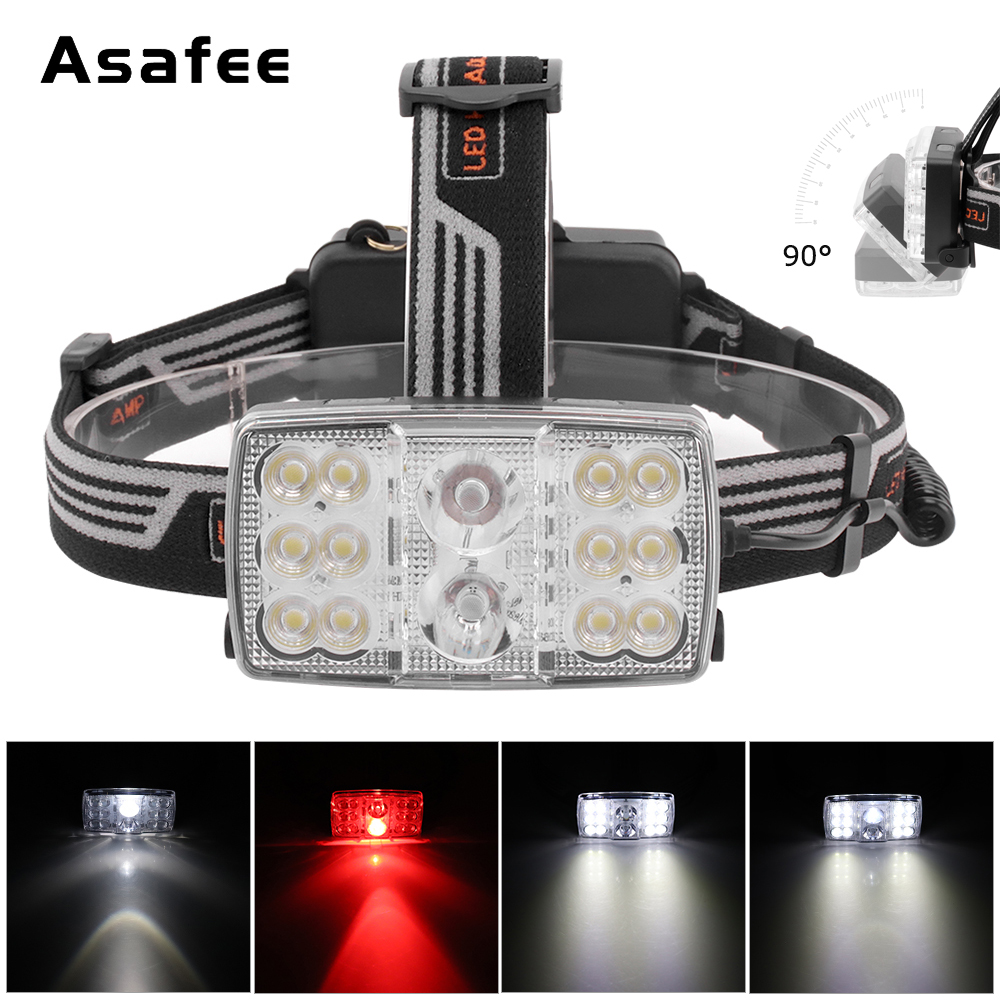 14 Led Night Fishing Headlamp Red Light Outdoor Headlight Waterproof Flash Head Lamp Torch Lantern For Hunting 18650 Battery